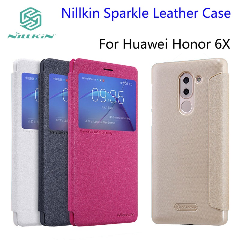 10pcs For Huawei Honor 6X Case NILLKIN Sparkle Leather Case Honor 6X Flip Cover Phone Cases + Retailed Package(Hong Kong)