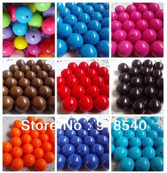 20MM 105pcs a Lot  Mixed Color Big Chunky Gumball Bubblegum Acrylic Solid Beads ,Colorful Chunky Beads for Necklace Jewelry