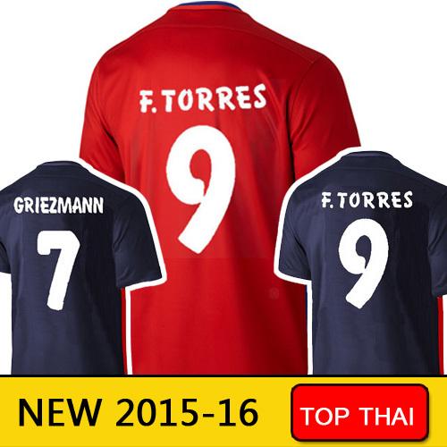 15 16 Camiseta de futbol GRIEZMANN Soccer Jerseys home away 2015 2016 ARDA FERNANDO TORRES MANDZUKIC Spain Jersey football shirt(China (Mainland))