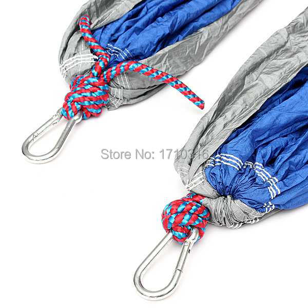 Best Promotion Blue Gray Portable Parachute Nylon Fabric Hammock Travel Camping Outdoor For Two Persons Lowest Price(China (Mainland))
