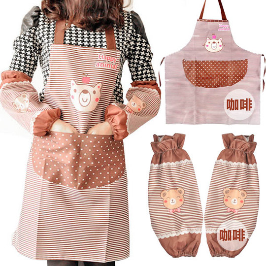 MiC New Arrival Fashion Kitchen Apron set Bibs work wear Over Sleeves 2pcs/set cooking Apron Household Cute Bear Design Brand(China (Mainland))