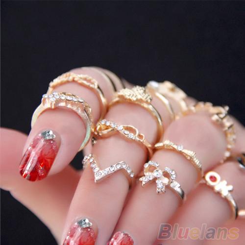 1 Set 7 pcs Women's Rhinestone Bowknot Knuckle Midi Mid Finger Tip Stacking Rings  01SJ