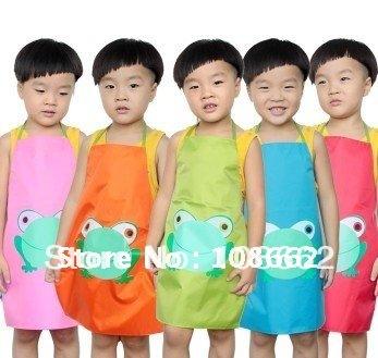 Brand new wholesale 25 PCS 2-12 Years Frog Cartoon Children Play & Cooking Apron Waterproof PVC Kids Aprons Kids Pinafore(China (Mainland))