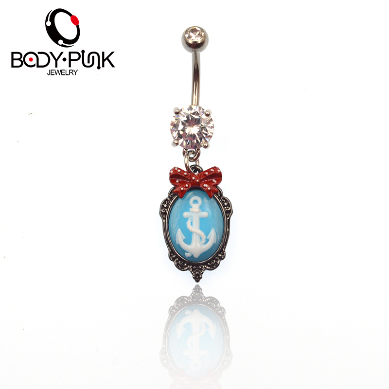 Red Bow Blue 3D Anchor Dangle Navel Ring Stainless Steel Belly Button Rings Body Piercing Navel Jewelry Free Shipping NR 041(China (Mainland))