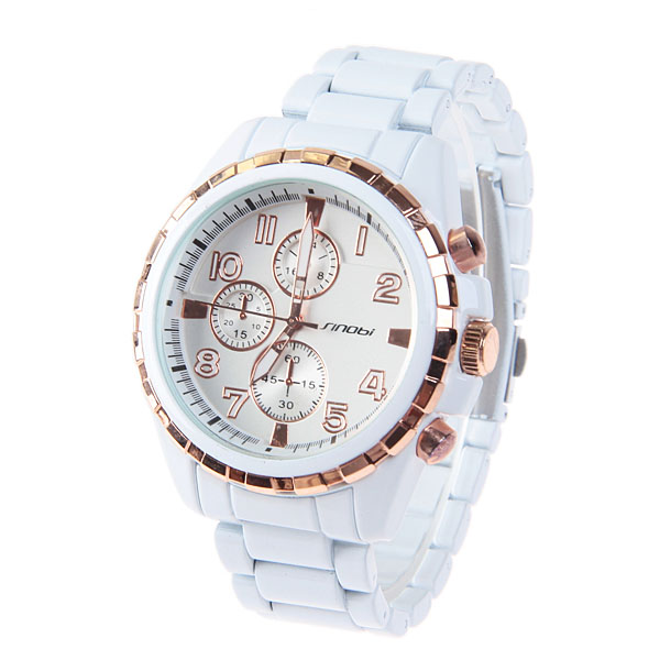 2016 Hot Sale Casual Sinobi Mens Watches with Numerals and Strips Indicate Time Quartz Dial Steel Band (White and Golden)<br><br>Aliexpress