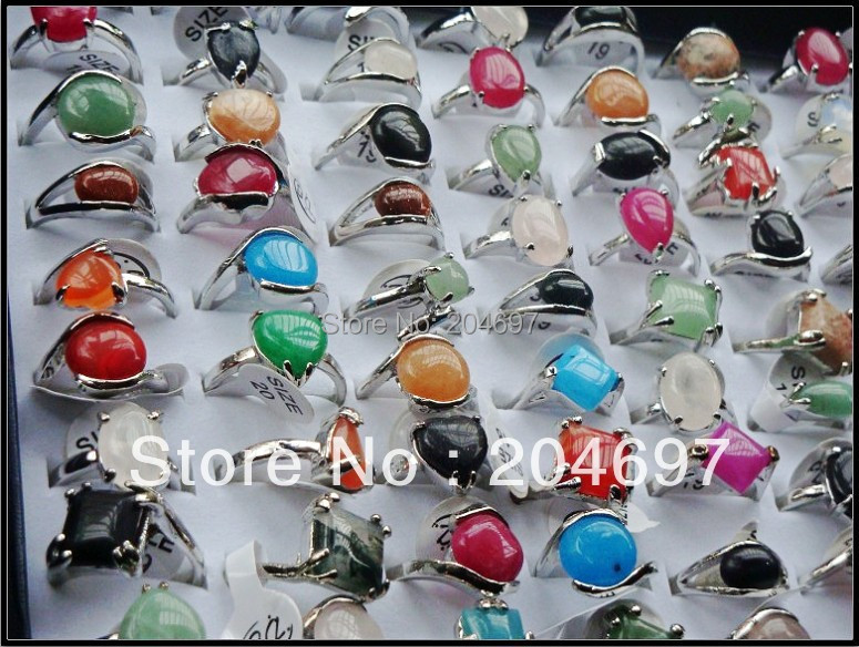 Mix 50pcs Colorful Natural Stone Alloy Rings Fashion Exquisite Lady's Ring Wholesale Lots Free Shipping