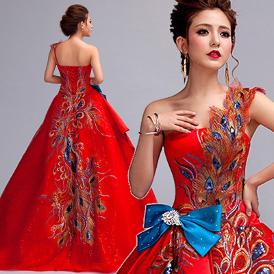 red embroidery peacock luxury bowknot dress ball gown siss princess  Gown queen Cosplay Victorian Belle ballОдежда и ак�е��уары<br><br><br>Aliexpress