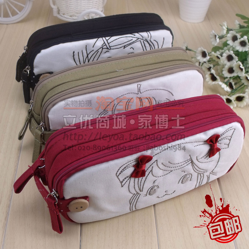 Hearts . korea stationery cotton cloth pencil case fresh big capacity multifunctional pencil box