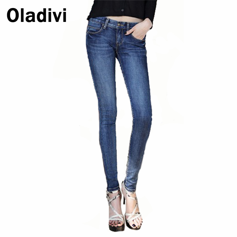 40 Large Size 2016 Autumn Winter New Korean Female Stretch Denim Jeans Women's Long Trousers Women Skinny Pencil Pants Blue - Oladivi official store