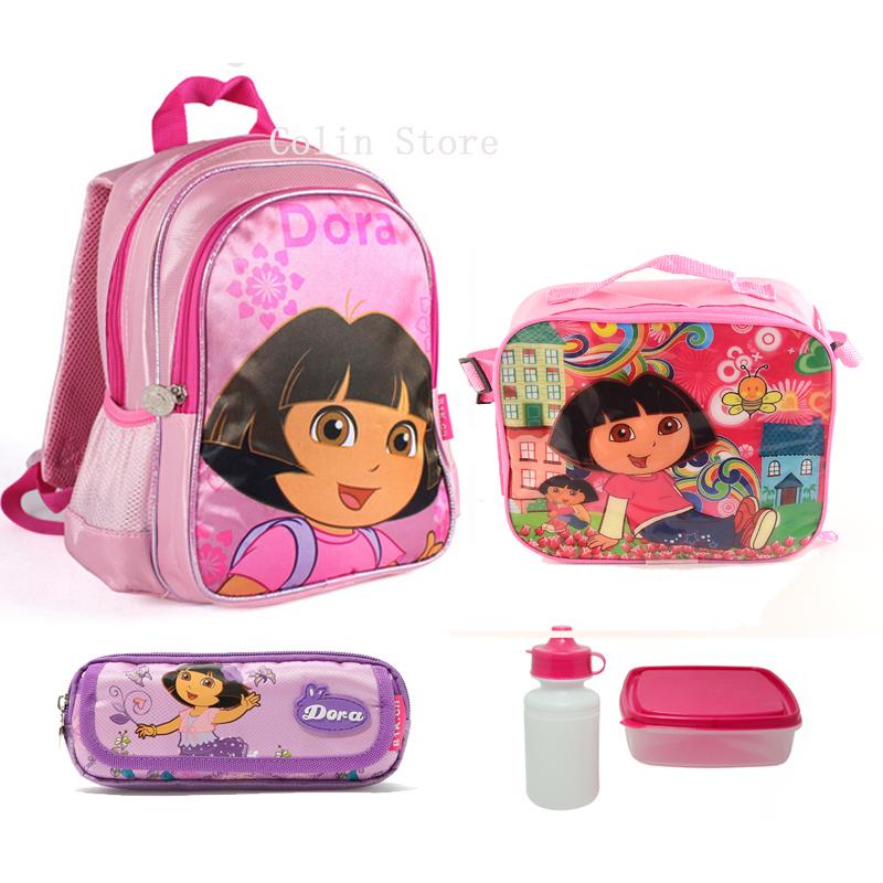 Children School Bag sets Cute Cartoon Dora School Bags For Girls Mochila Feminina High Quality nylon Backpack 12.99inch(China (Mainland))