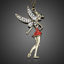 2016 NEW Fashion Copper Red Jewelery Fay Skirt Wings Long Pendant Sweater Necklace