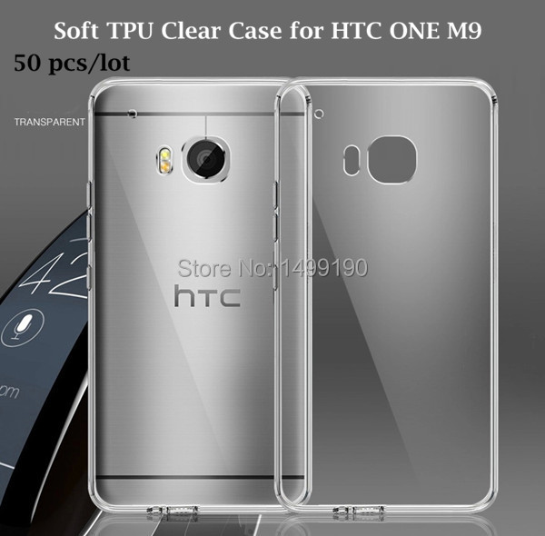 50pcs/lot 2015 Hot Sale Clear Soft Ultra Thin TPU Mobile Cell Phone Case Protector for HTC One M9 Free Shipping(China (Mainland))