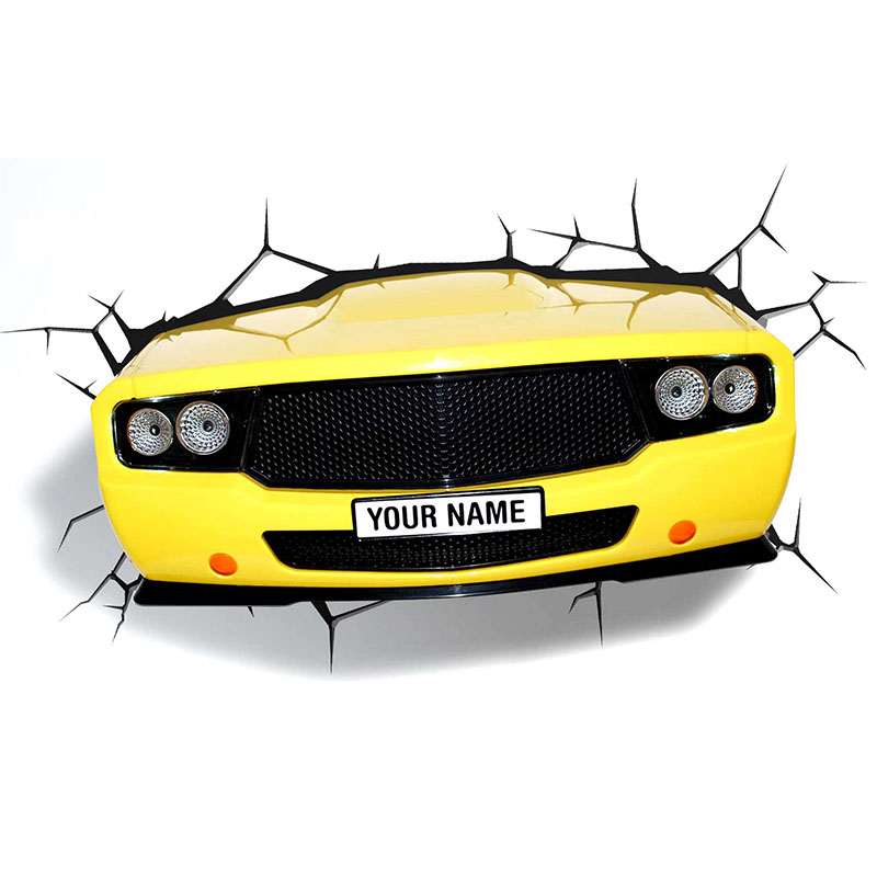 Mai Po genuine 3D yellow toy car mascot wall lamp LED nightlight birthday gifts(China (Mainland))