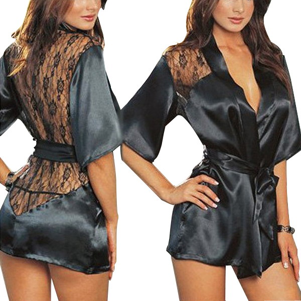 2015 Sexy Women Satin Lace Lingerie Nightdress Robe Sleepwear Nightwear Fit Multi Size free shipping(China (Mainland))