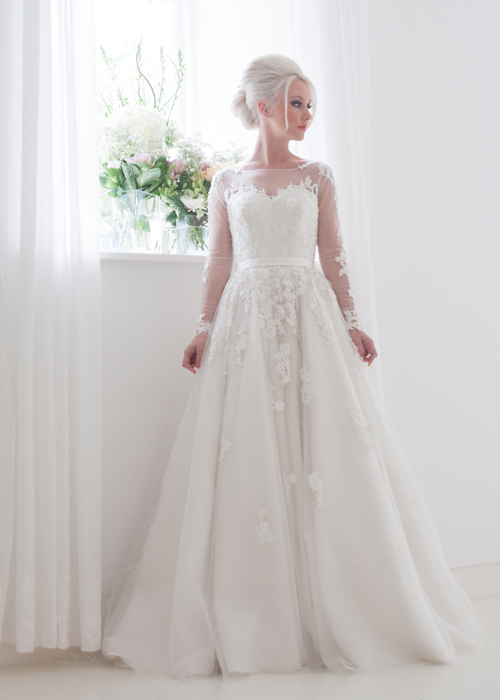 Buy 2015 sheer illusion neck long sleeves for Wedding dresses with sheer illusion neckline