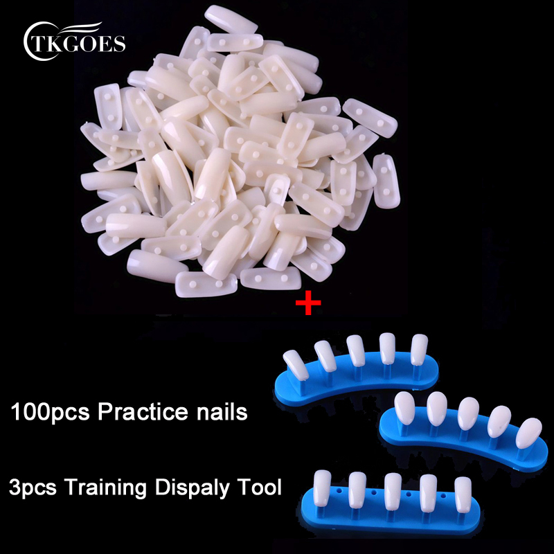 TKGOES 100pcs Square Plastic Nail Tips +1set Trainer Tool Adjustable Nail Art Model Hand Practice Nail Training Display Manicure(China (Mainland))