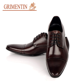 GRIMENTIN fashion modern designed formal men dress shoes genuine leather black&brown flats for business office size: 38-45 #38