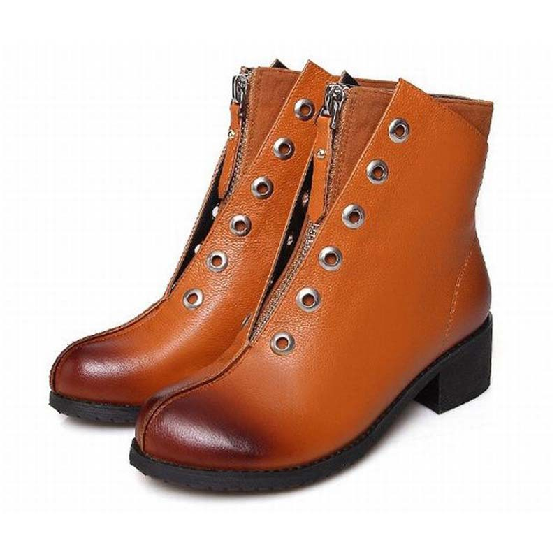 Фотография 2016 autumn new womens genuine leather vintage front zipper ankle martin boots british style retro fashion thick heels shoes