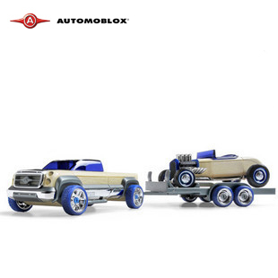 Automoblox Small trailer combination wood assembly car model toys Small(China (Mainland))