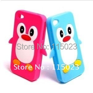 10pcs/lot penguins Soft Silicon Back Cover Cell phone Case for iphone 4 4S