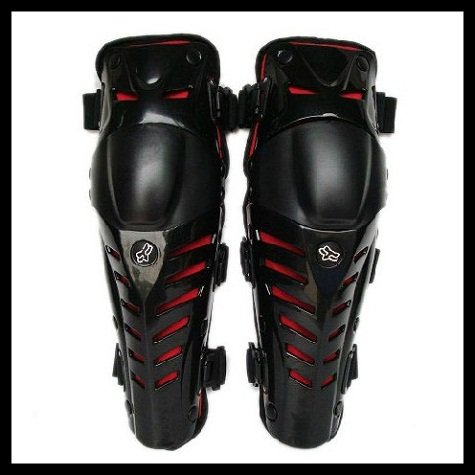 1 pair Extreme Sport Motorcycle Dirt Bike Motocross Racing Protective Knee/Shin Pads Armor Guard black&red - Excell Q. store