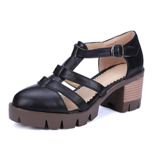 2016 discount Women's Summer Shoe New Arrival Sexy Peep Toe Buckle Cut-outs Platform Sandals Thick Platform sandal 34-43(China (Mainland))