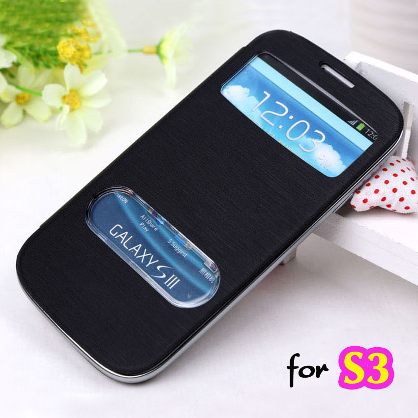 Battery Housing Sleeve Original View Leather Case Flip Cover Shell Holster For Samsung Galaxy S3 I9300 / S3 Neo I9300i / S3 Duos(China (Mainland))