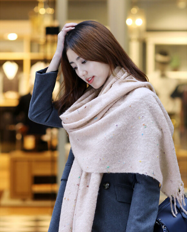 New Winter Dot Circle Tassel Lady Cashmere Scarf Multicolor Long Large Pashmina Soft Warm Scarf Wrap Shawl Scarves 60*190cm(China (Mainland))