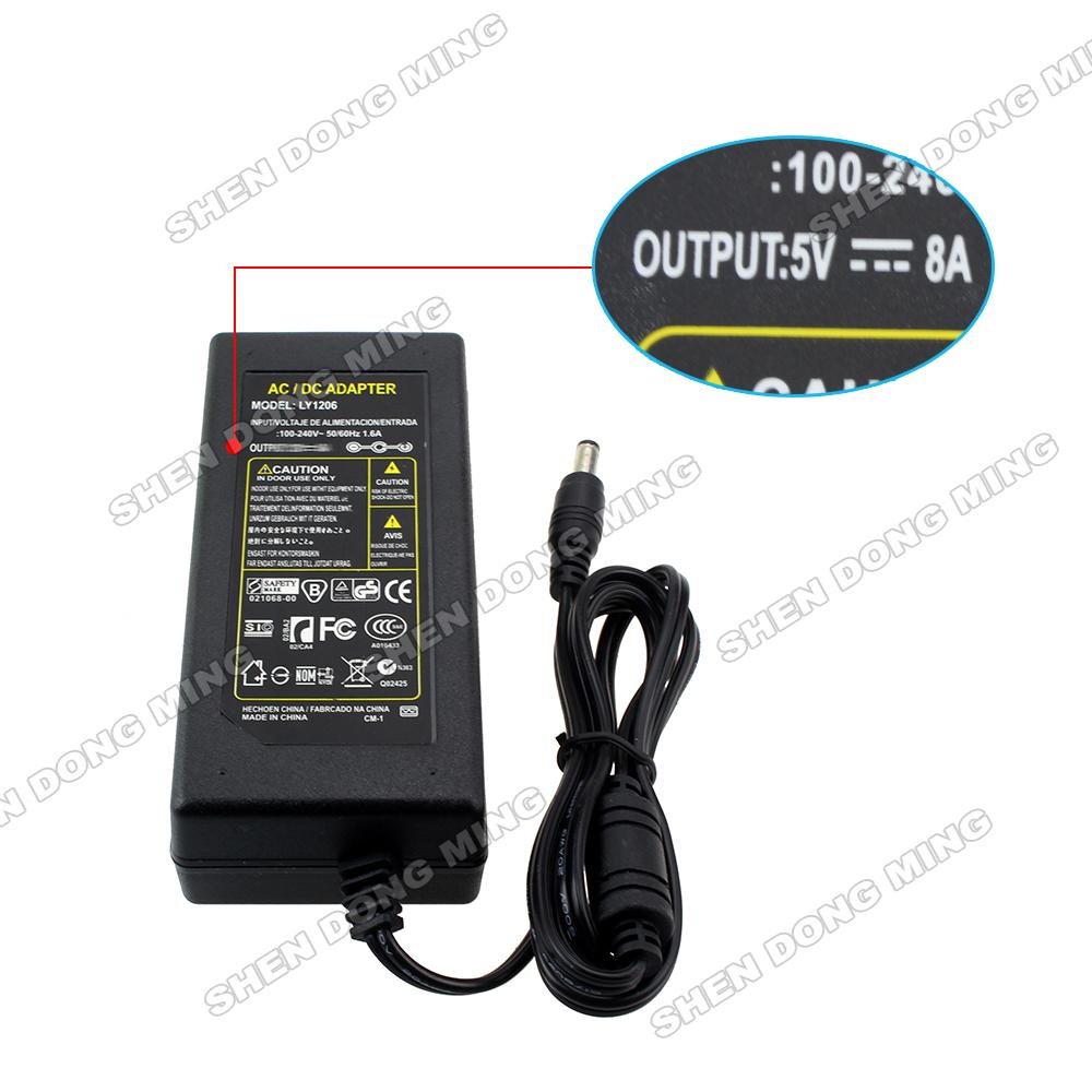 led dirver 5V DC 8A 40W adapter AC100-240V power supply with AU/US/EU plug for led pixel strip light(China (Mainland))