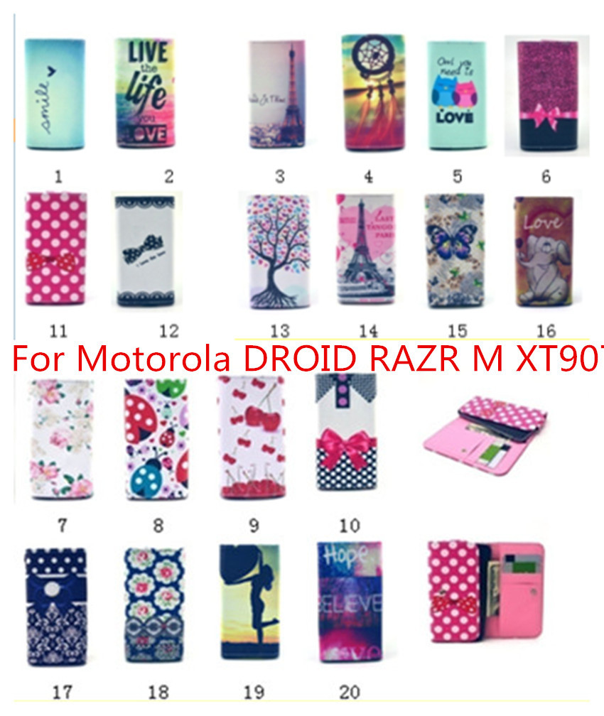For Motorola DROID RAZR M XT907 New Luxury Flip pouch Leather cute wallet Mobile Phone case 20 colors phone Bags(China (Mainland))