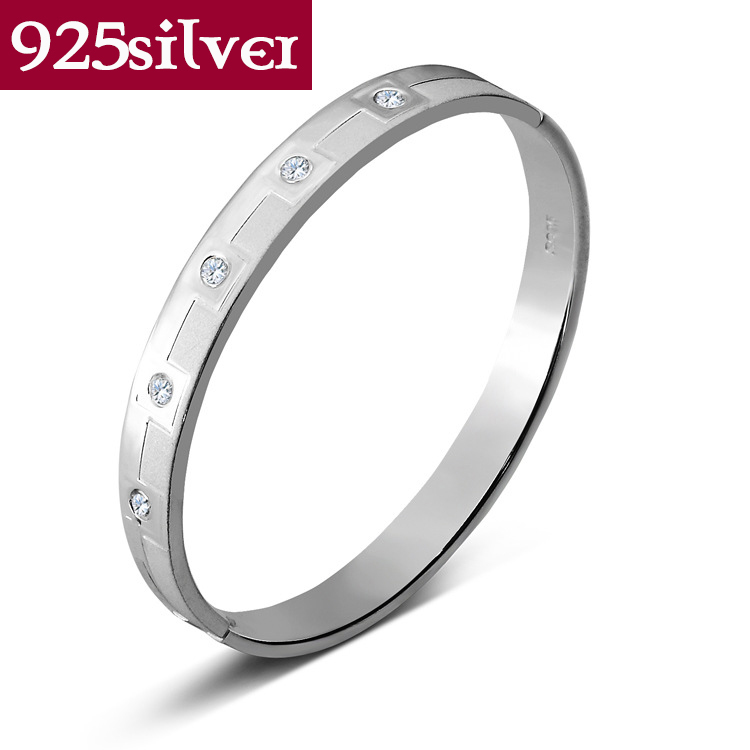 100% real pure 925 sterling silver jewelry crystal bangles elegant design Bangle/bracelet Trendy Hot  Sale Free Shipping<br><br>Aliexpress