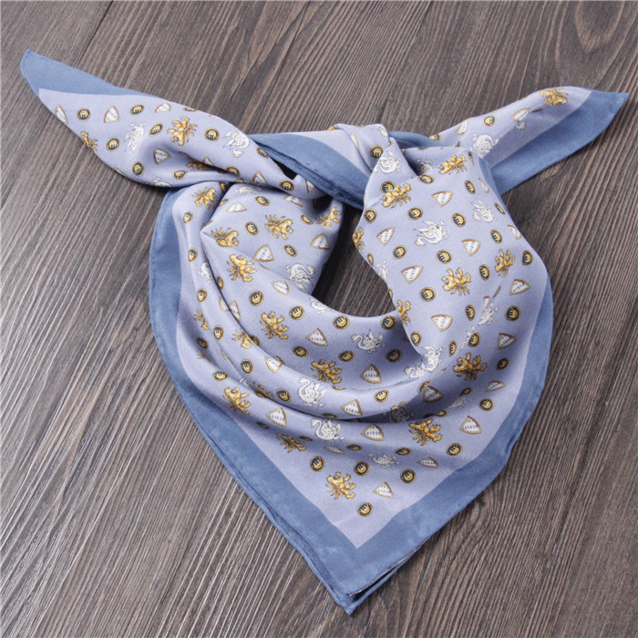 100% silk small square blue swam Germany scarf headband silk tie pocket scarf acessories free shipping(China (Mainland))