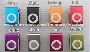 Wholesale 20pcs/lot clip mp3 music player with card slot mini mp3 player 8 colors  & Free Shipping
