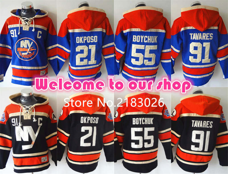 High Quality New York Islanders Hoodie Pullover 21 Kyle Okposo 91 John Tavares Hoody 55 Johnny Boychuk Hockey Hoodie Sweatshirt(China (Mainland))