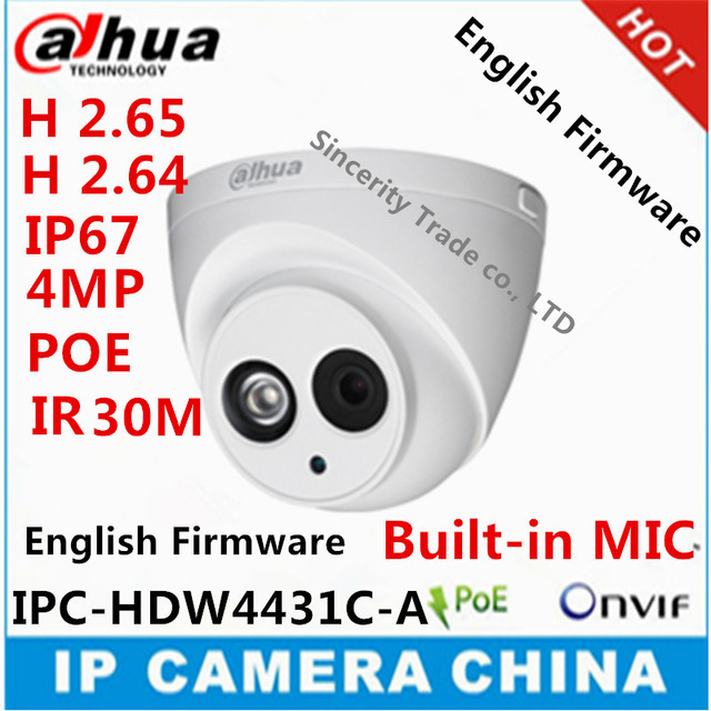 Dahua H2.65 H2.64 IPC-HDW4431C-A Built-in MIC HD 4MP IR 30m IP 67 network IP Camera with poe replace IPC-HDW4300C web camera(China (Mainland))