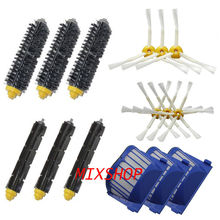 3 Blue AeroVac Filter + 3 set main Brush kit +6 side brush for iRobot Roomba 600 Series 620 630 650 660 accessory Replacment(China (Mainland))