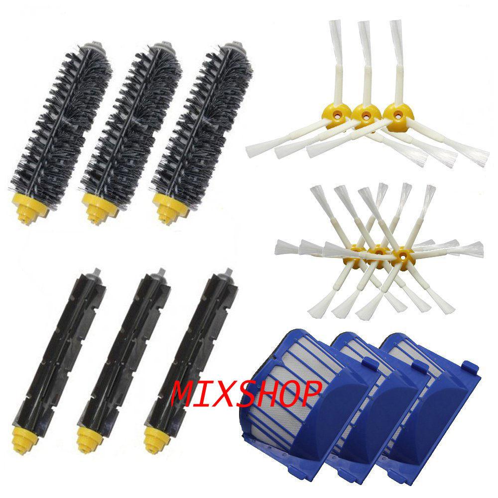 3 Blue AeroVac Filter + 3 set main Brush kit +6 side brush for iRobot Roomba 600 Series 620 630 650 660 accessory Replacment(China (Mainland))