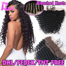7A Cheap Brazilian Deep Wave Lace Frontal Closure Bleached Knots 13X4 Human Hair Closure With Baby Hair Free Middle 3 Part Lace(China (Mainland))