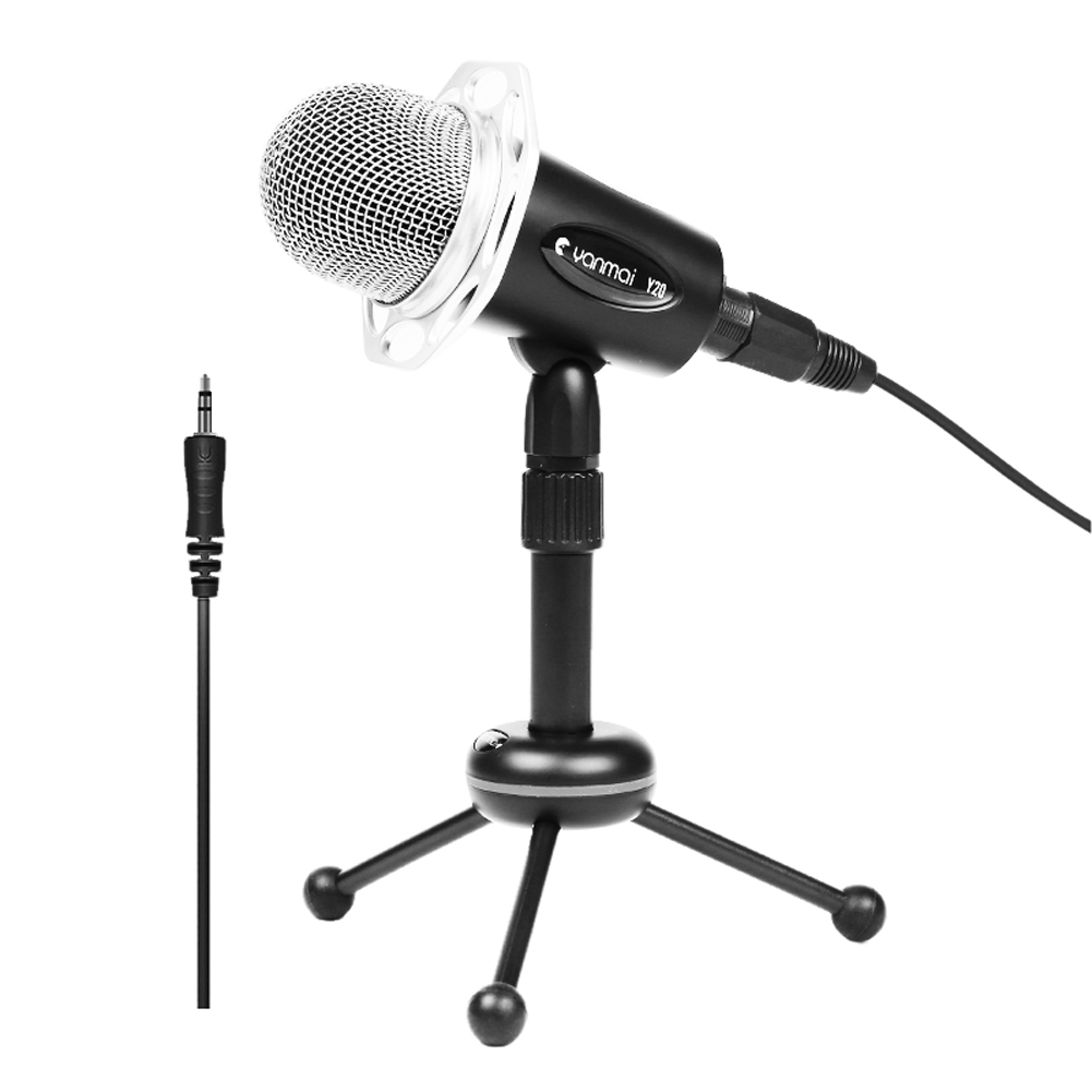 1Pcs 3.5mm AUX Plug Microphone Professional Stereo Condenser Sound Podcast Online Chating Microphone PC With Holder OD#S(China (Mainland))