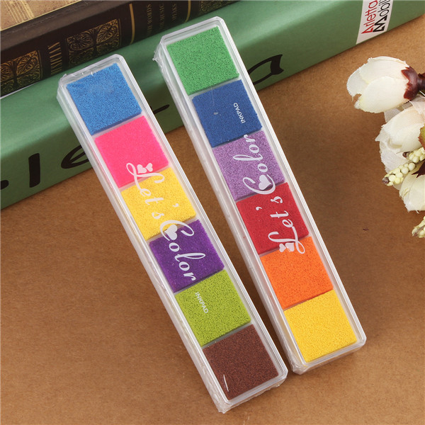6 colors Cute Inkpad Craft Oil Based DIY Ink Pad for Rubber Stamps for Fabric Paper Scrapbook Wedding Decor Fingerprint Ink Pad(China (Mainland))