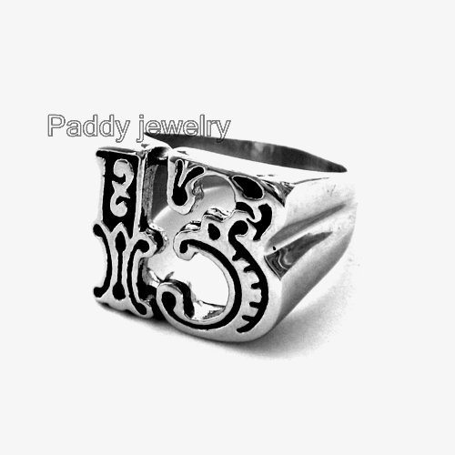 !number thirteen stainless steel Ring 07152 - Paddy jewelry store