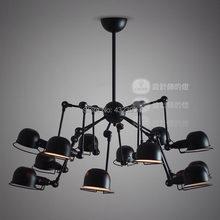 Vintage American Style 12 lights mechanical arm spider chandelier industrial black ceiling Lamp restaurant light fixtures (China (Mainland))