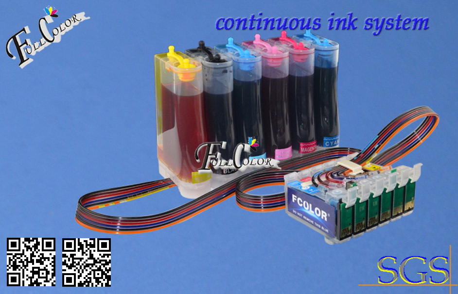 Continous Ink Supply System for Epson R270 / R290 / R390 / RX590 / 690 CISS with Reset Chip + 500ML Pigment Ink / Color<br><br>Aliexpress