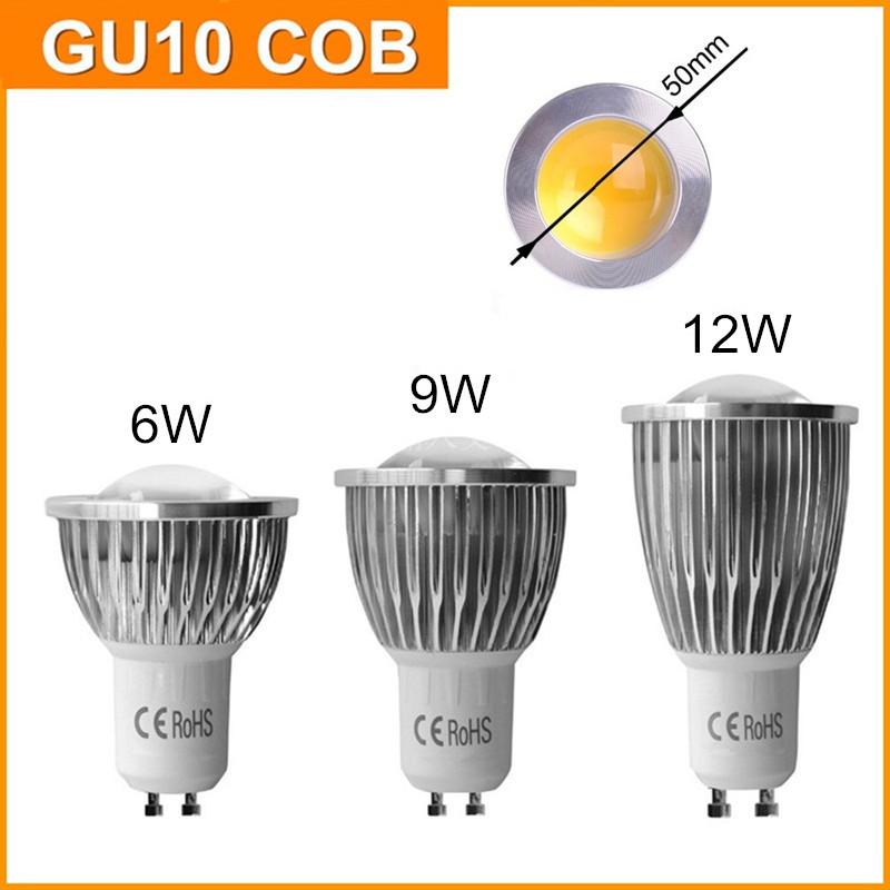 220V 110V Best Quality LED Bulb COB GU10 6W 9W 12W GU 10 Lamp Dimmable Spot Light Energy Saving Bulbs CE RoHS ETL(China (Mainland))