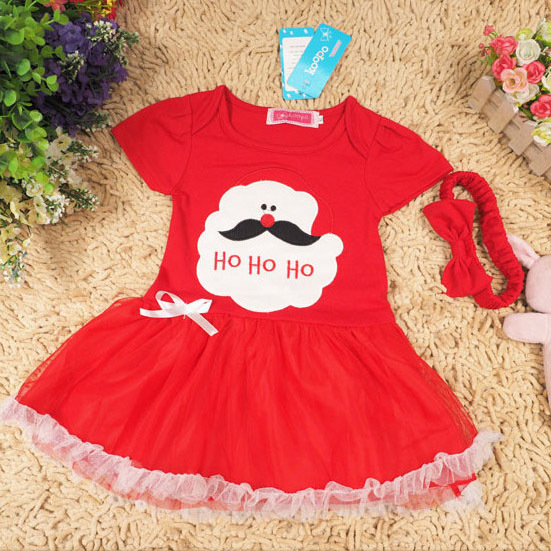 Christmas baby girls Christmas gifts for children short-sleeved dress + headdress red dress()
