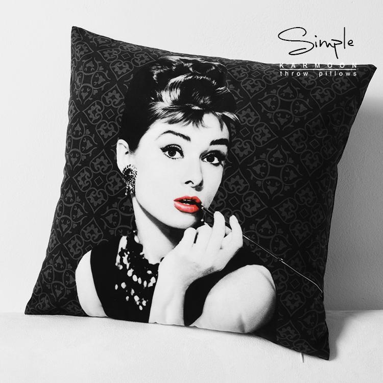 Audrey Hepburn pillow cover Creative black Audrey Hepburn Short plush velvet throw pillow case pillowcase High quality