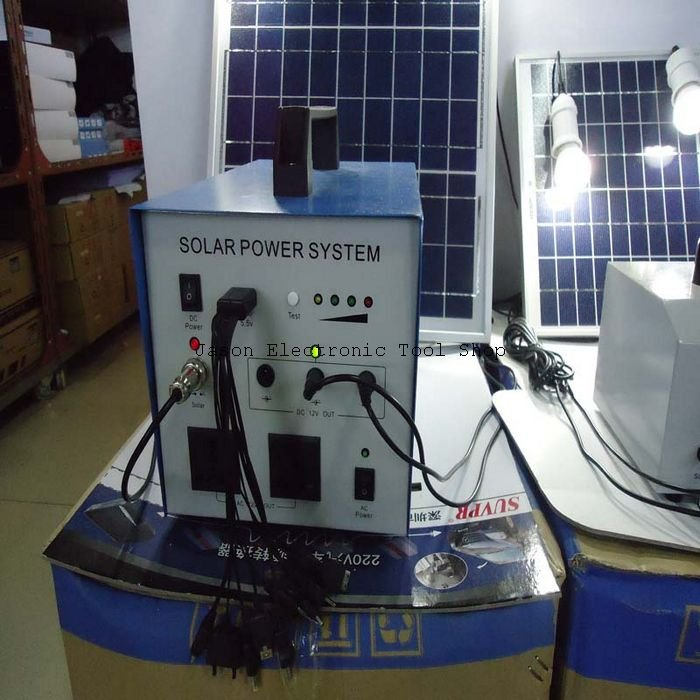 free shipping 30W solar panel+10A controller+24AH rechargable battery+LED 350W rated power solar power lighing system(China (Mainland))