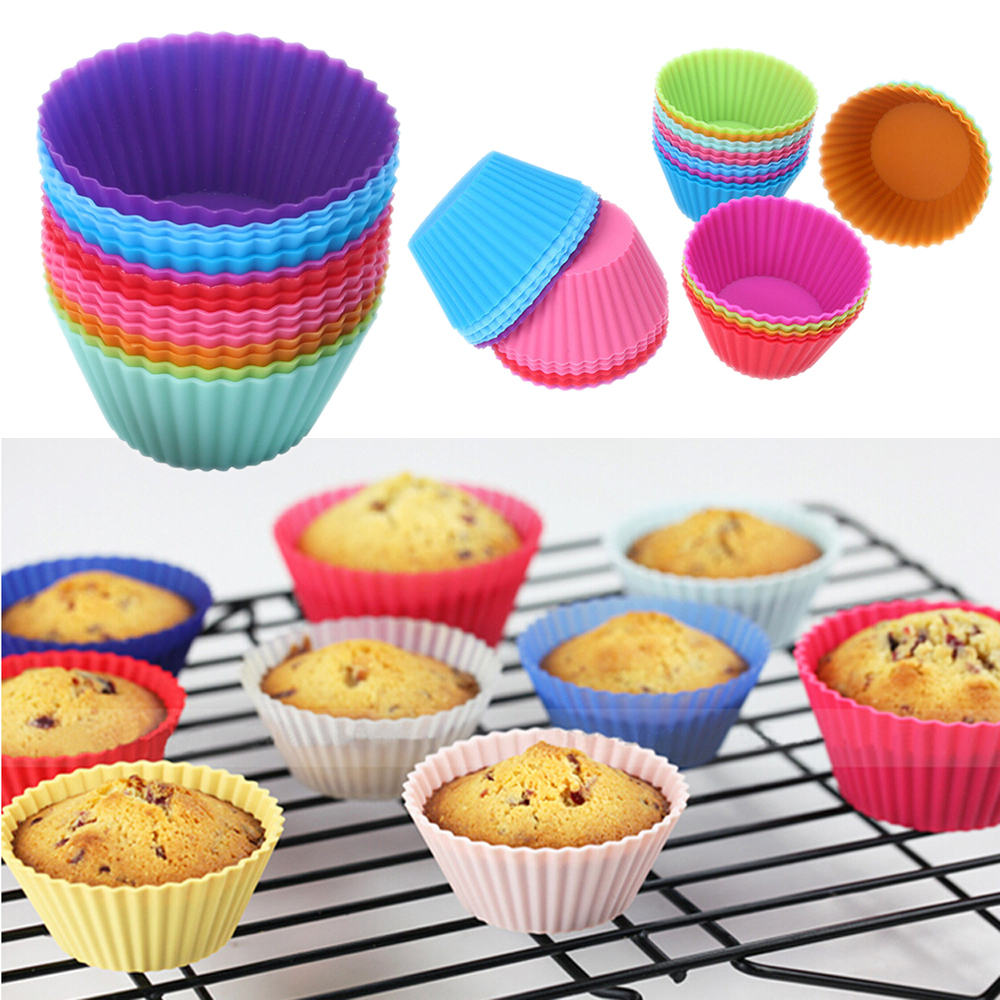 Гаджет  12pcs/lot 7cm Muffin Cupcake Silicone Cups Round For Muffin Cupcake DIY Baking Fondant Muffin Cake Cups Molds Free Shipping D588 None Дом и Сад