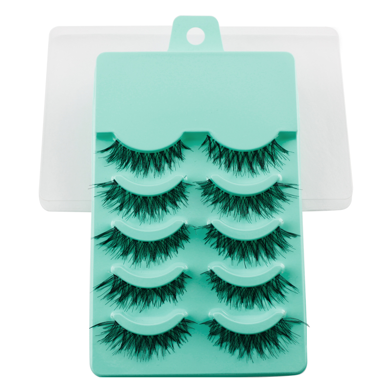 LCBOX 5 Pairs Natural Soft Black False EyeLashes Handmade Thick cross Cosmetic Fake Eyelashes Makeup Women Lady Beauty set