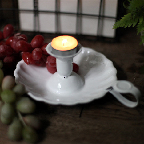 Vintage Enamel Candle Holder Home Decoration White 16*8CM(China (Mainland))